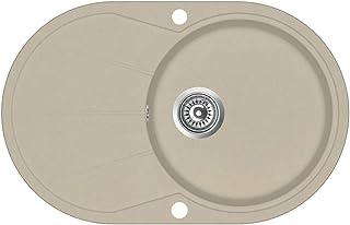 vidaXL Granitspüle Doppelbecken Kratzfest Küchenspüle Einbauspüle Spülbecken Spüle Küche Waschbecken Küchenbecken Auflagespüle Oval Beige Granit