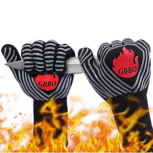 GBBO BBQ Gloves 1472°F Heat Resistant Oven Gloves, Food Grade Premium Non-Slip Silicone Oven Mitts Cooking Gloves for Home Kitchen, Grill Gloves for Barbecue, Cooking, Baking, Welding, Cutting