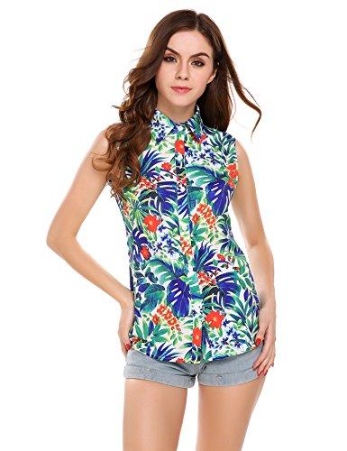 Meaneor Tops Damen Hawaii Bluse Strand Oberteil Sommer Armlos Shirt für Urlaub in 4 Farbe Blumen Freizeit Aloha Hawaii Blusen mit elastischem Material Funky Hawaiihemd XL