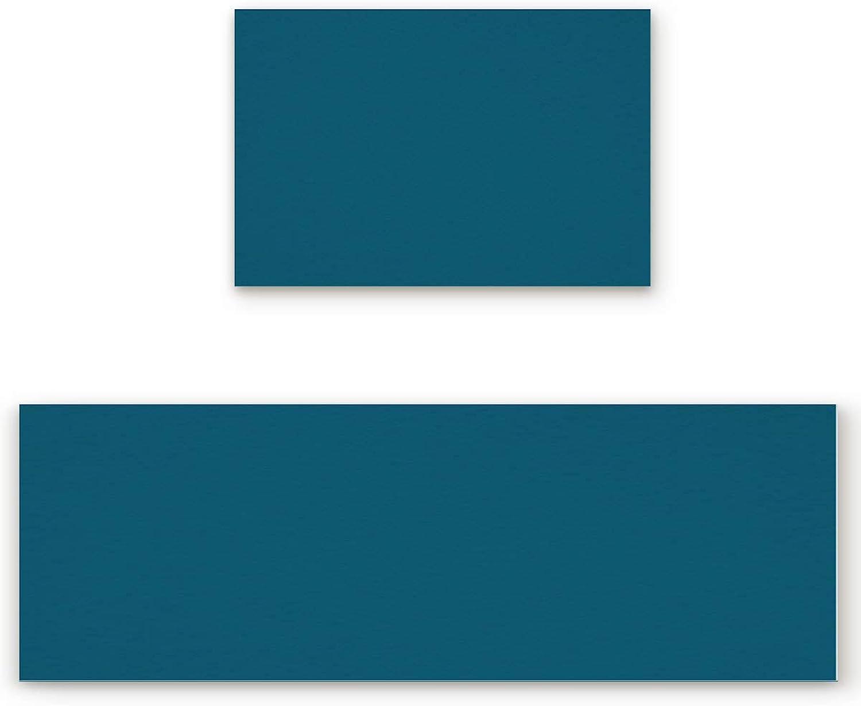 Savannan 2 Piece Non-Slip Kitchen Bathroom Entrance Mat Absorbent Durable Floor Doormat Runner Rug Set - Solid color Dark bluee