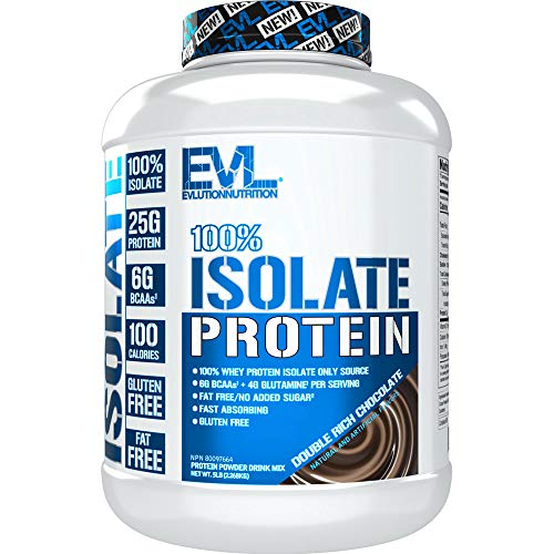 Evlution Nutrition 100% Isolate, Whey Isolate Protein Powder, 25 G of Fast Absorbing Protein, No Sugar Added, Low-Carb, Gluten-Free (Double Rich Chocolate, 5 LB)