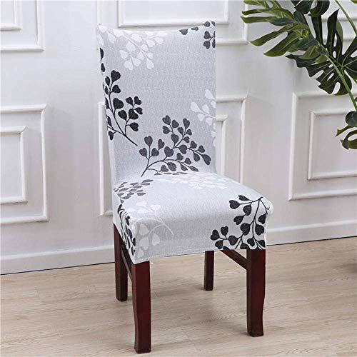 DQWGSS Stuhlbezug Graue herzförmige Blätter Stretch Esszimmerstuhlbezüge Stuhllehne mit hoher Rückenlehne Schutzhülle Schonbezug, abnehmbare Schonbezüge aus weichem Spandex für die Küche des Hotele