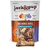 Jack&Pup Rib Bone Bites Dog Treats - Premium Grade Roasted Beef Ribs Bones for Dogs (3-4 inches, 20 Pack) Single Ingredient All Natural Meaty Chew - Savory Smoked Beef Flavor (1.5 LB)