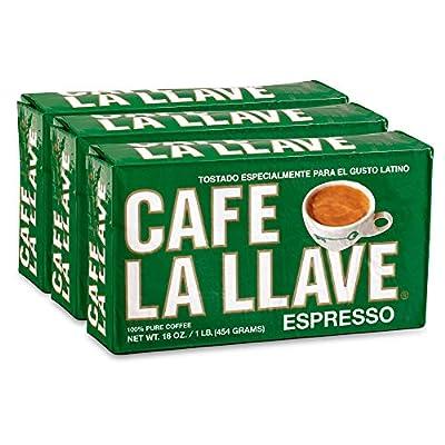 Café La Llave Espresso, 100% Pure Coffee, Dark Roast, Ground Coffee (3 x 16 Ounce Bricks)