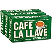 Café La Llave Espresso, 100% Pure Coffee, Dark Roast, 16-Ounce Bricks (3 Count)