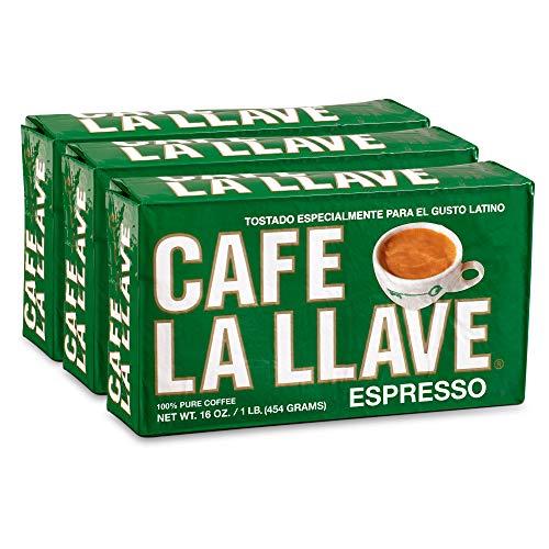 Cafe La Llave Espresso Dark Roast Coffee, (3 x 16 oz Bricks)