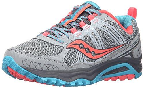 Saucony S15301-1, Zapatillas de Trail Running para Mujer, Varios colores (Gris/Azul/Coral), 5 B(M) US