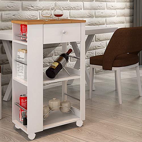 HS-Lighting Küchenwagen Rollwagen Holz Servierwagen mit Schubladen, Bambus Arbeitsplatte und 2 Ablagen, Weiß (BTH: 50 x 36 x 86cm)