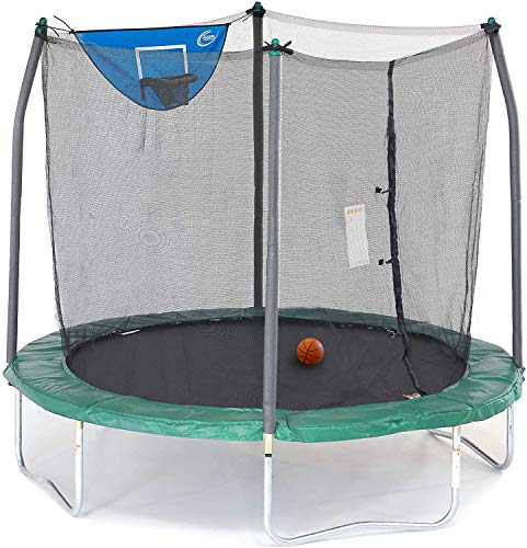 Skywalker Trampolines Jump N' Dunk Trampoline with Safety Enclosure and Basketball Hoop, Green, 8-Feet