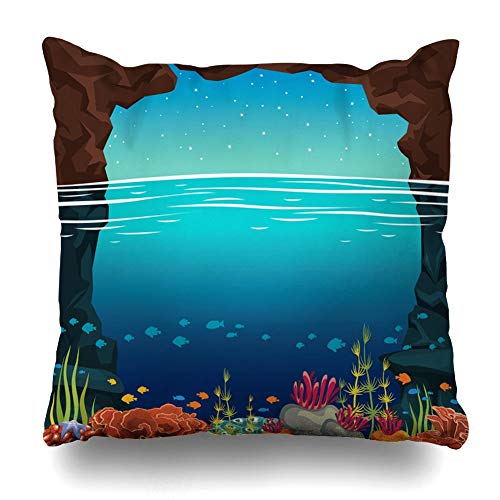 Decorativepillows Case Throw Pillows Covers For Couch/Bed 18 x 18 inch,Calm Sea Landscape Stone Cave Colorful Coral Reef S?Hool Fishes Under Home Sofa Cushion Cover Pillowcase Gift 18x18 inches