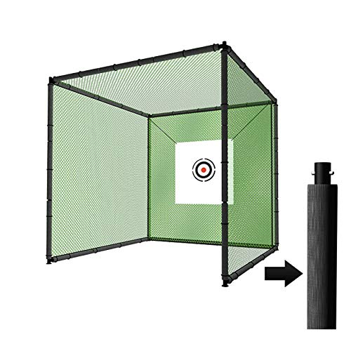 YUNIC Sport Steel Metal Golf Cage (10ft x 10ft x 10ft) with Hitting Nets and Targets Training Aids Chipping Practice Cage for Backyard Driving Range for Outdoor Sports (Golf Cage Set)