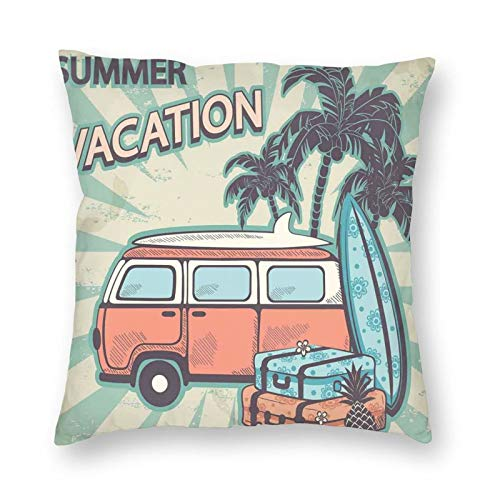 Throw Pillow Cover 20x20 Inches,Hippie Van Near Coconut Palm Trees Floral Suitcases And Surf Boards,Pillow Covers for Sofa Bedding Car and Home Decor