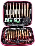 Bluemeow Circular Knitting Needles Anillo Set De Aluminio Intercambiables Agujas De Bambú Carbonizado Conjunto De Herramientas De Tejer Suéter Desmontable