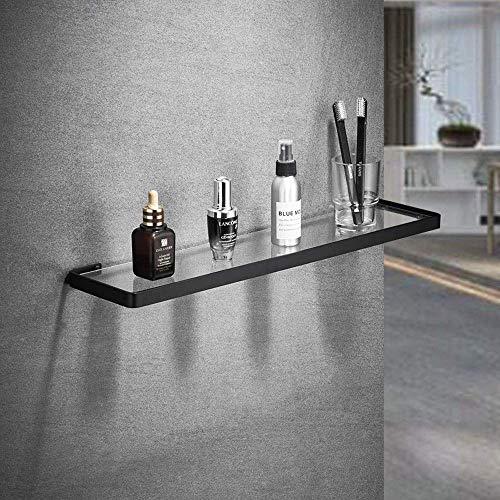 Estante de cristal de seguridad endurecido grueso para baño, rectangular, cromado, de borde ancho, estante de cristal para baño de maquillaje, accesorios de baño para almacenamiento de baño