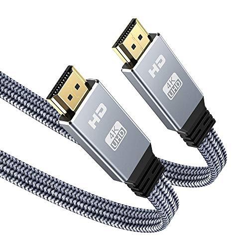 4K@60HZ HDMI Kabel 2Meter, Snowkids Highspeed 4K HDMI 2.0 Flach Kabel 18Gbps HDCP 2.2 Nylon Geflochten Kompatibel mit, UHD 2160p,HD 1080p, 3D, ARC, LG, SONY, PS3/PS4-Grau