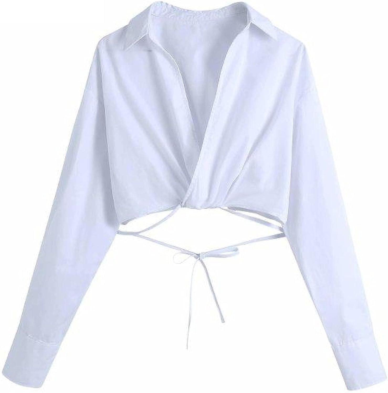 Women Cross V Neck Hem Bow Smock Tied Short Free shipping New Brand Cheap Sale Venue Female White Blouse