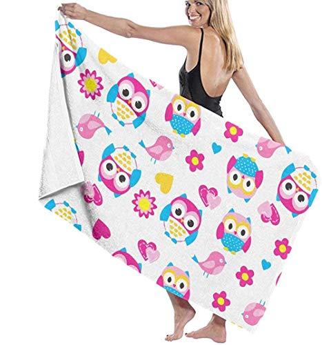 Beach Towel Large Bath Towel,Pink Owl Bird 3D Printing Lightweight Soft Absorbable Travel Towels Sports Bath Washcloth For Bedroom Swim Pool Yoga 80X130Cm