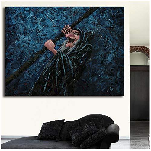 Sneeuwwitje en de zeven dwergen Hag donkerste magische canvas schilderij print slaapkamer Home decor kunst schilderij poster-60x90cm geen frame