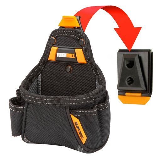 ToughBuilt TB-CT-25 Tape Measure/All Purpose Pouch, No-Snag Hidden Seam Pocket, 2 Screw Driver Loops, Rugged 6-Layer Construction, 5 Pockets and Loops