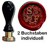 UDIG Siegelstempel mit Gravur, Schriftart Illuminata, Petschaft 2 Initialen personalisierbar,...