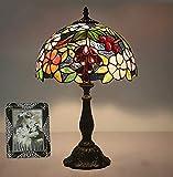 Escritorio de la lámpara de mesa de estilo tiffany artesanal al lado de las lámparas, las uvas pastorales de 20 pulgadas de altura Hermosas flores de las flores de cristal manchado de la lámpara de re