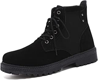 Xujw-shoes store, 2019 Mens New Lace-up Flats Mens Combat Boots High Top for Men Classic Lace Up Style Suede Vamp Round Toe Fleece Inside Experienced Stitched Outdoor Anti Slip Sport Casual