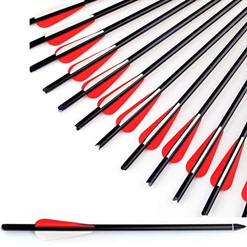 Sports Funshop 12x Armbrustpfeil 20 Zoll Aluminiumpfeil mit schraubbarer Feldspitze