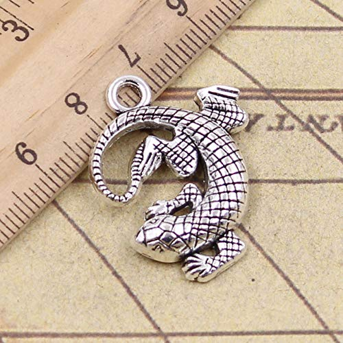 WANM 8Pcs Charms Gecko Lizard 31X24Mm Antique Bronze Silver Color Pendants Making Diy Handmade Tibetan Finding Jewelry For Bracelet