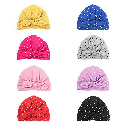 BOBORA Nouveau-né Bébé Filles Turban Chapeaux Enfants Polka Pois Coton Bonnets avec un Arc pour 0-2 ans (0-2 Ans, Pack de 8PCs)