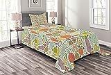 ABAKUHAUS Gemüse Tagesdecke Set, Paleo Diet Foods Entwurf, Set mit Kissenbezügen Feste Farben, 170 x 220 cm, Kokosnuss & Multicolor
