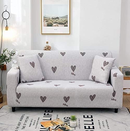 Estiramiento Funda de sofá 3 Plazas 1 Pieza Antideslizante Fundas Impresa para Sofas Sofás Cubre Sofá Ajustable Protector de Muebles 2 Fundas de Almohada Amor Gris