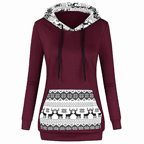 ITISME FRAUEN BLUSE Mode Lässig Frauen Patchwork Hoodie Sweatshirt Weihnachten Print Pullover Bluse