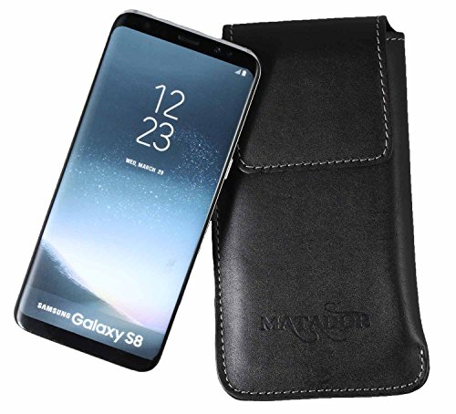 MATADOR Ledercase Ledertasche kompatibel mit Galaxy S8 Plus Natur Schwarz