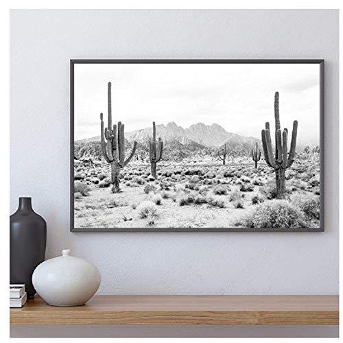 Paisaje del desierto Impresión en blanco y negro Fotografía moderna Cartel Saguaro Cactus Arte Lienzo Pintura Imagen Decoración de arte de pared / 50X100Cm Sin marco