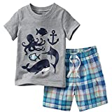 Toddler Boy Summer Clothes,Grey Fish Short Sleeve T-Shirt and Shorts Outfit Set 5t
