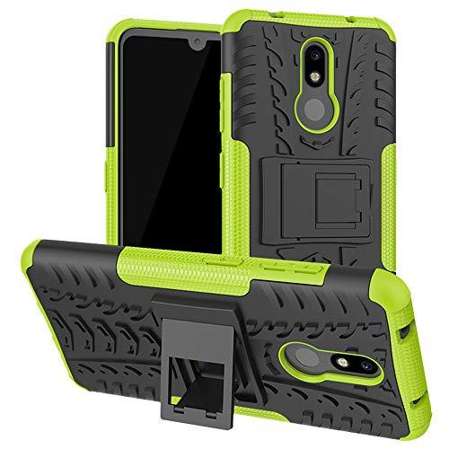 LiuShan Nokia 3.2 Coque, Shockproof Robuste Impact Armure Hybride Béquille Housse Coque Étui Couverture pour Nokia 3.2 2019 (Not fit Nokia 3.1) Smartphone,Vert