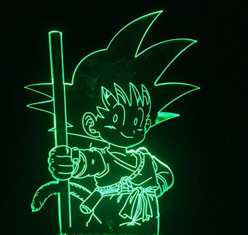 Infantile - Lámpara de mesa para dormitorio infantil, diseño de dragón de siete dibujos animados con forma de Goku con 7 colores cambiantes, luz nocturna