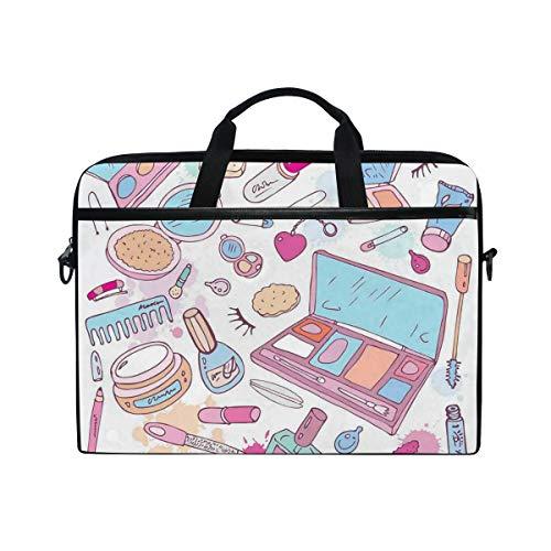 VICAFUCI Nuevo Bolso para portátil de 15-15.4 Pulgadas,Múltiples Productos de Maquillaje para Mujeres Ilustración Cosméticos Concepto de Belleza y Glamour