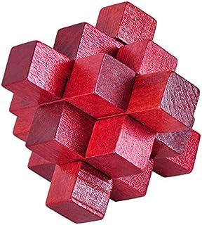 6425adf7f25c TOOGOO Rompecabezas logico cerradura de nueve pasos rojo de madera Burr  Puzzle acertijo Juguete de asamblea