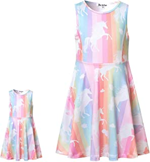 Girls&Doll Matching Dresses Sleeveless Unicorn Clothes Outfits Fits 18