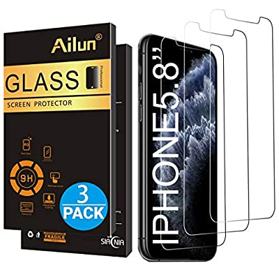 Ailun for Apple iPhone Xs/iPhone X/iPhone 11 Pro Screen Protector,3 Pack,5.8 Inch Display,Tempered Glass 2.5D Edge Work Most Case[NOT for iPhone 11,6.1 inch]