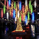 LED de Meteoros Lluvia Luces, 10 tubos, 360 LED, luces impermeables con energía solar, luces de cadena con gotas de lluvia para bodas, Navidad, jardín, árbol, decoración del hogar