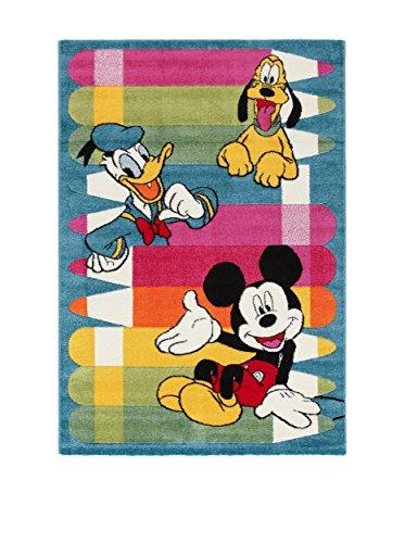 Disney Tappeto Premium Mickey Blu/Multicolore 100 x 150 cm