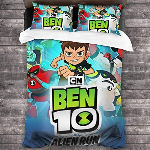 Knncch Ben-10 Cartoon Soft Bedding Set Duvet Cover Set with 2 Pillowcase, Unique 3 Piece Bedding Set Duvet Cover Set s,(No Comforter)