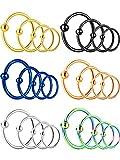 18 piezas 20G acero inoxidable anillo de nariz aro septum anillo cartílago hélice oreja, 3 tamaños, 6 colores