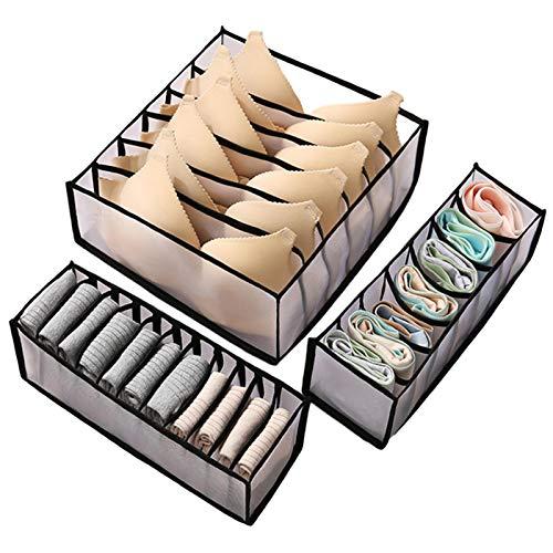 Compartimento del administrador del cajón de ropa interior, caja de almacenamiento de ropa interior plegable, compartimento de almacenamiento de sujetador y calcetines tipo cajón(6+ 7 +11celdas )