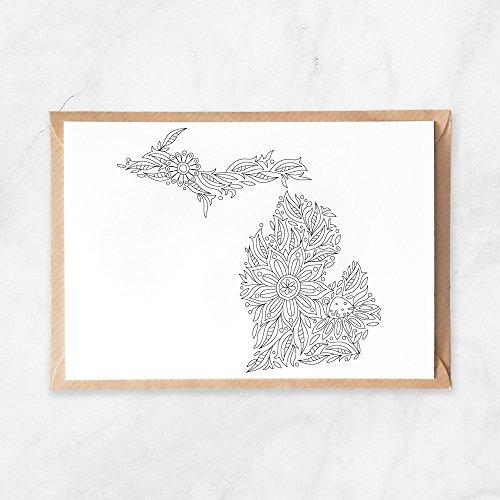 5 Stück, Postkarte zum Ausmalen, Michigan USA Karte, Vereinigte Staaten, A6