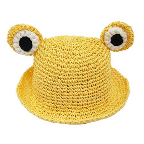 Y-POWER Sombrero de paja tejida a mano para niños pequeños, diseño de rana, ojos de rana, visera ancha, plegable, para playa, pescador Panamá, con correa para la barbilla.