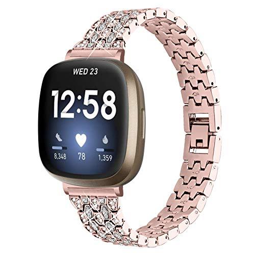 YiMiky Kompatibel für Fitbit Versa 3, Edelstahl Metall Armband mit Bling Strass Armband Ersatz Uhrenarmband für Fitbit Sense/Versa 3 (Gold)