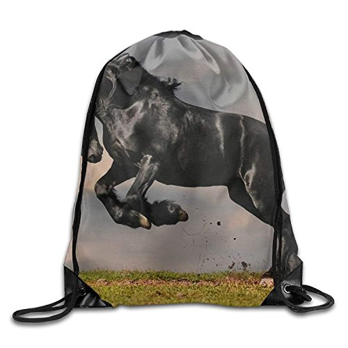 Borse da palestra Zaini Casual, Gym Drawstring Bag Backpack Black Horse Running Cyber Monday Unisex Gym Shoulder Bag String Bags Fashion